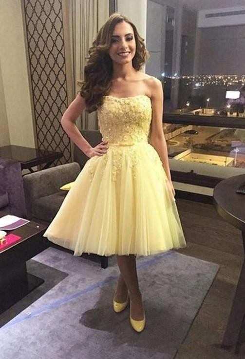 Yellow prom dress,short Homecoming Dresses,tulle Prom Dresses,Short Formal Party Gown,strapless party dress
