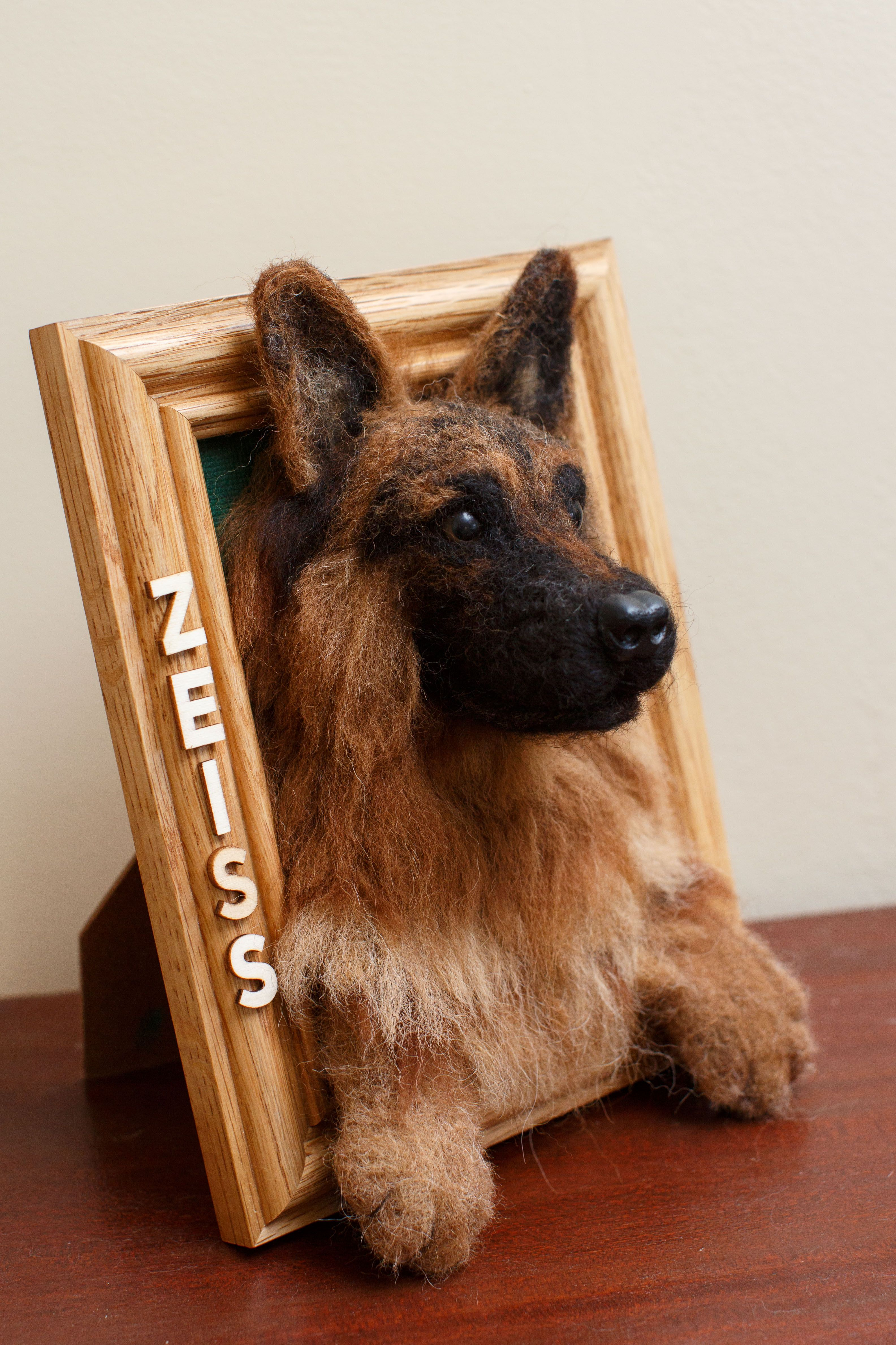 Custom German Shepherd 5x7 Photo Frame Felt Animals Needle Felted Dog Felt Art