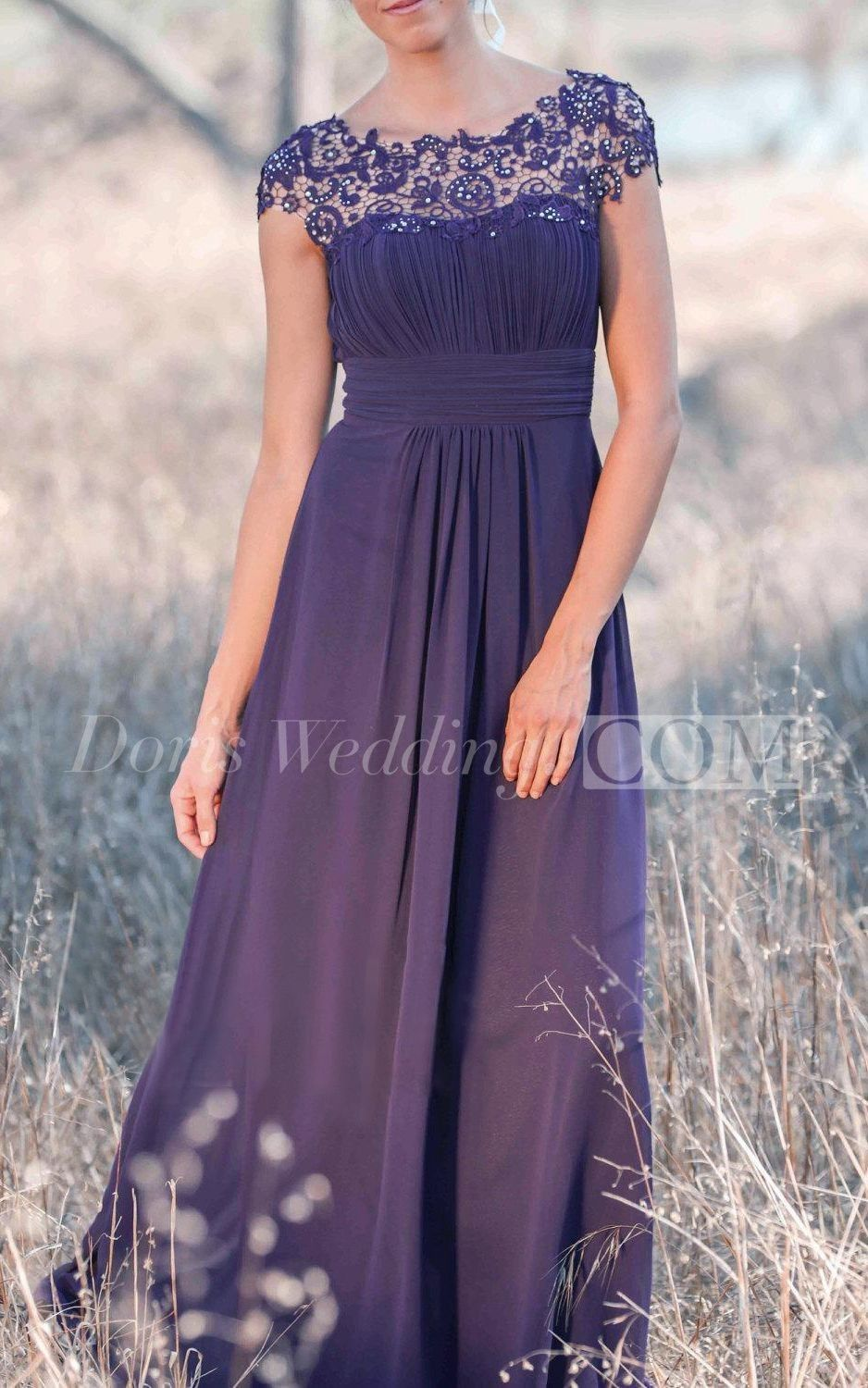 Illusion Cap Sleeve Pleated A-line Chiffon Long Dress With Back Keyhole