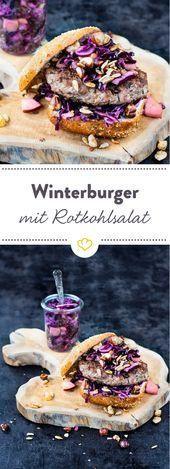 Winter burger with red cabbage salad and grains crunch  Beste Burger Rezepte