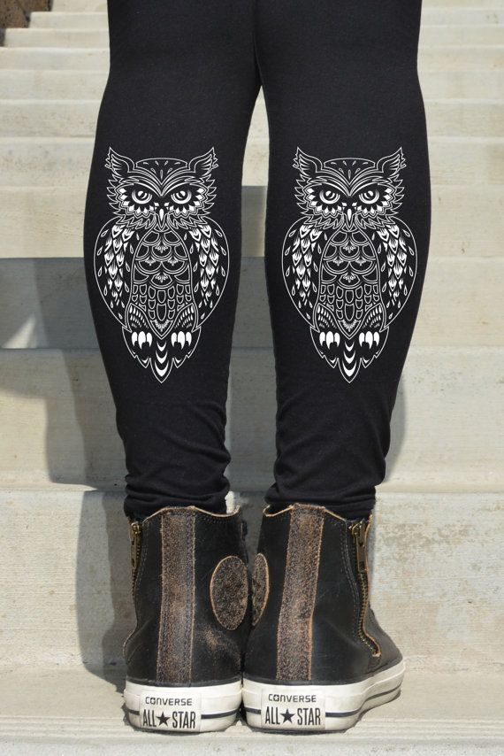 OWL printed Leggings  6-9 by Hellominky on Etsy