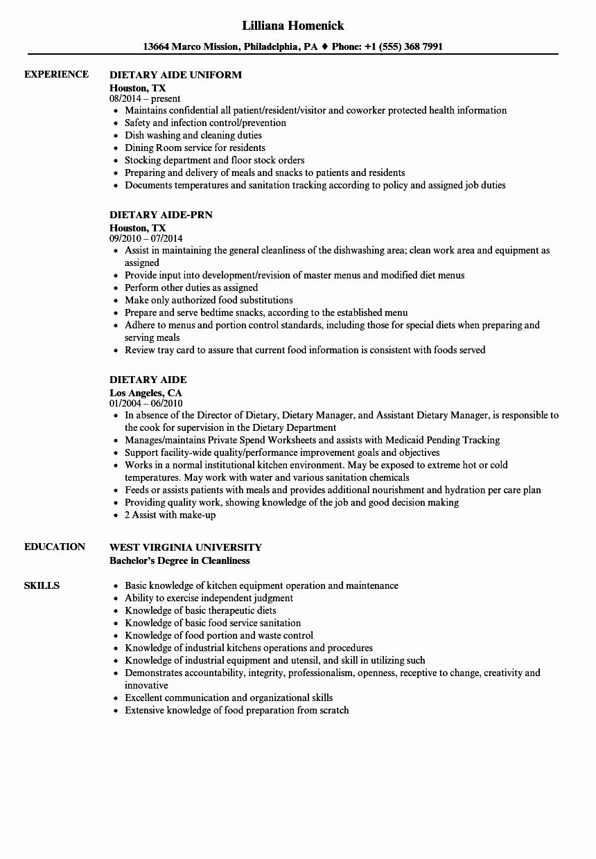 Dietary Aide Job Description Resume Beautiful Dietary Aide