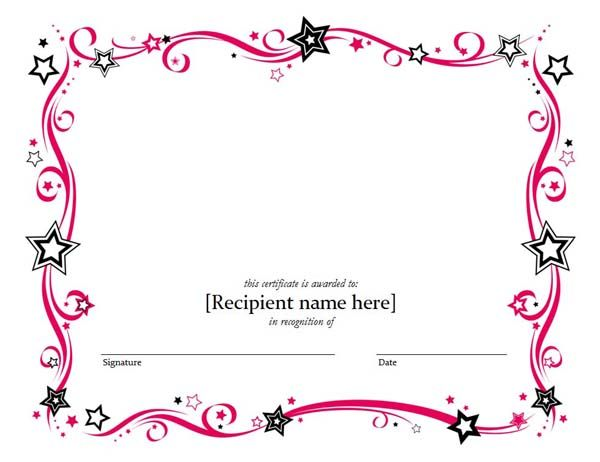 Blank Certificate Templates Kiddo Shelter Blank Certificate   Microsoft Word  Award Template  Certificate Of Achievement Template Word
