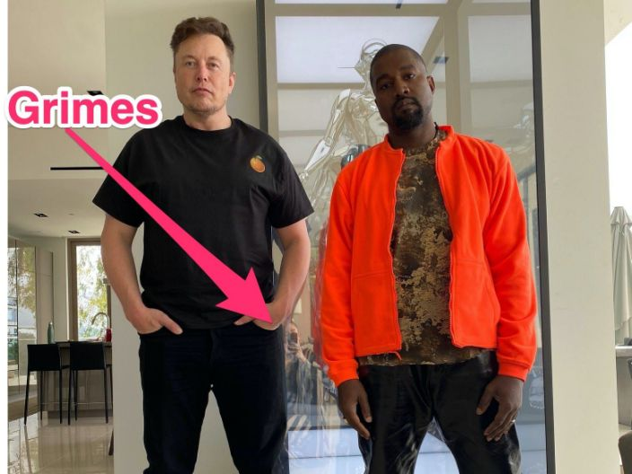 A Reflection In A Photo Of Elon Musk And Kanye West Appears To Show Grimes Taking The Picture In 2020 Kanye West Adidas Kanye West Grimes