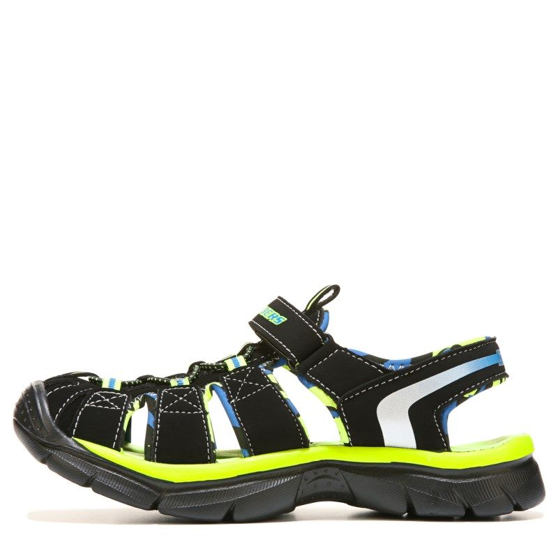 Skechers Kids' Relix Sport Sandal Pre/Grade School Sandals (Black/Lime)