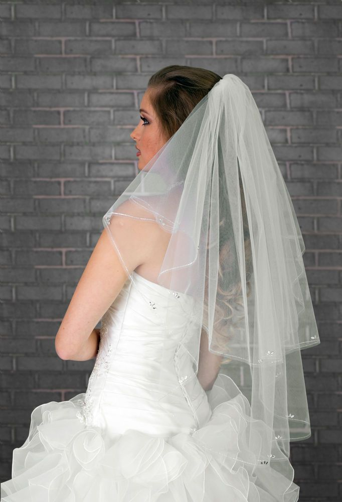 "NEW Womens 2 Layer White Ivory Wedding Bridal Veil Waist Length 32/"" CRYSTALS"