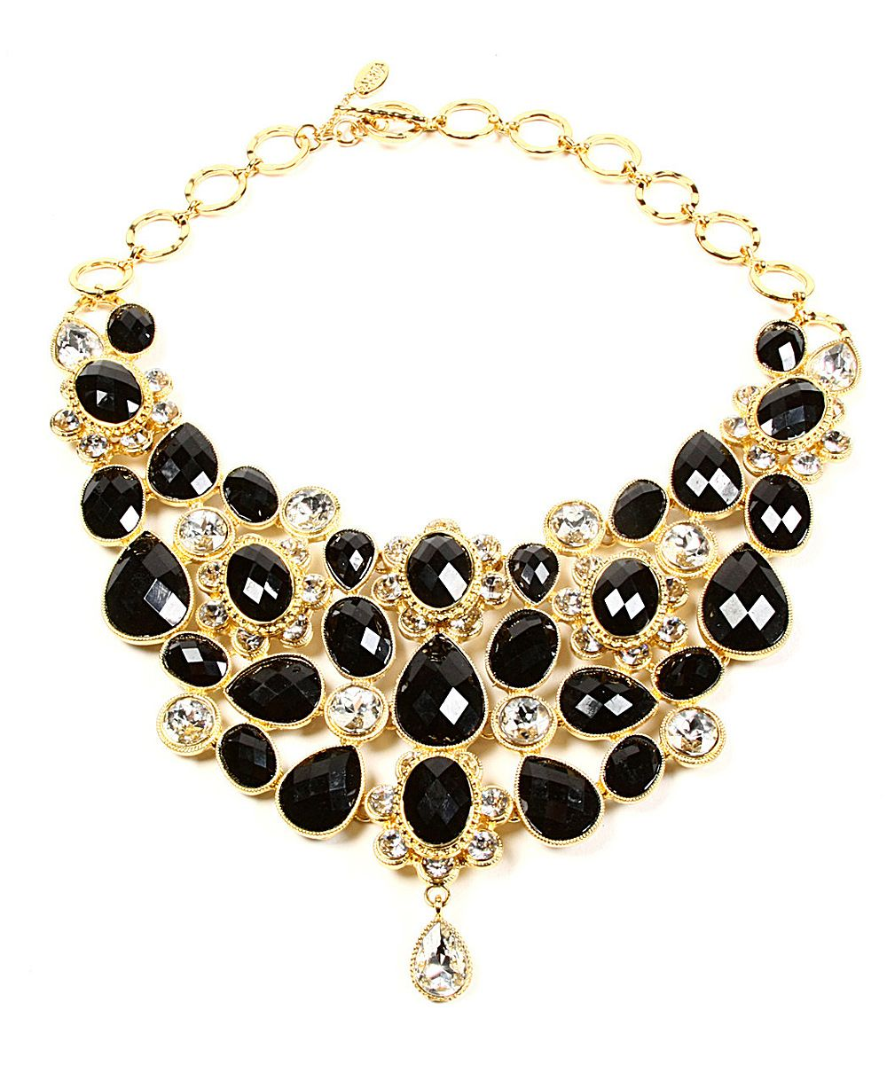 Jet Black Crystal South Fork Bib Necklace by Amrita Singh