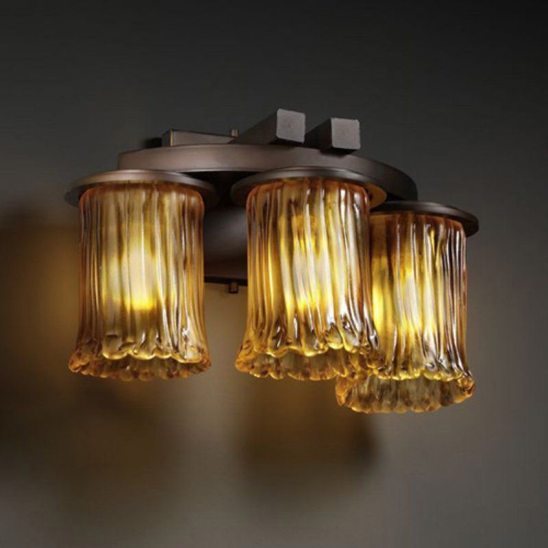 Justice Design Group GLA-8776 - Dakota 3 Light Curved - Bar Wall Sconce - Cylinder with Rippled Rim Shade - Dark Bronze with Amber Glass - GLA-8776-16-AMBR-DBRZ