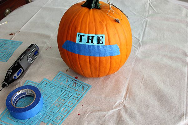 Pumpkin Carving With A Dremel Tool Applying The Stencil Dremel Dremel Tool Pumpkin Carving