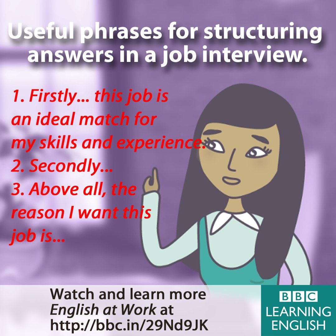 Useful phrases for structuring answers in a job interview. | English ...
