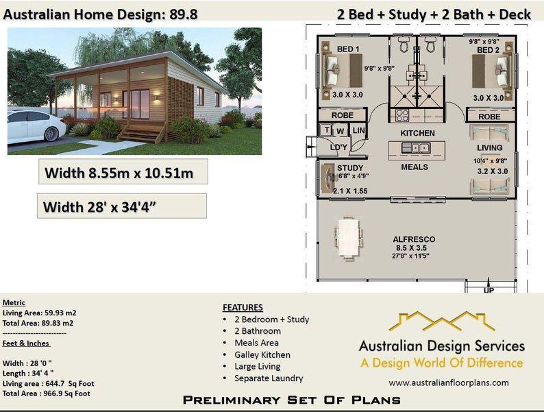 89.8 m2 or 966 sq foot 2 Bedrooms + 2 bathroom Granny