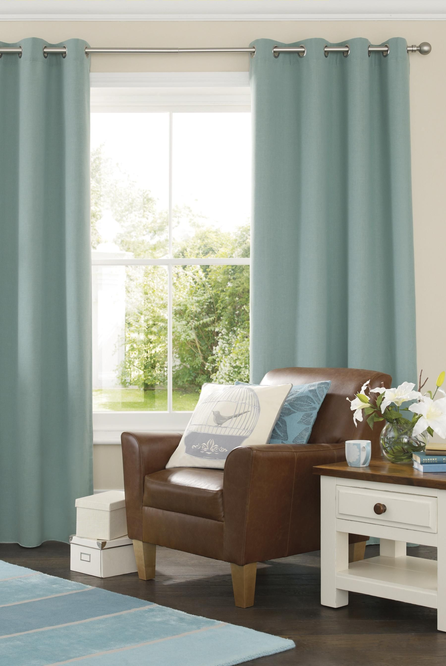 Light Blue Curtains Rug Looks So Good With Them Too And Brown
