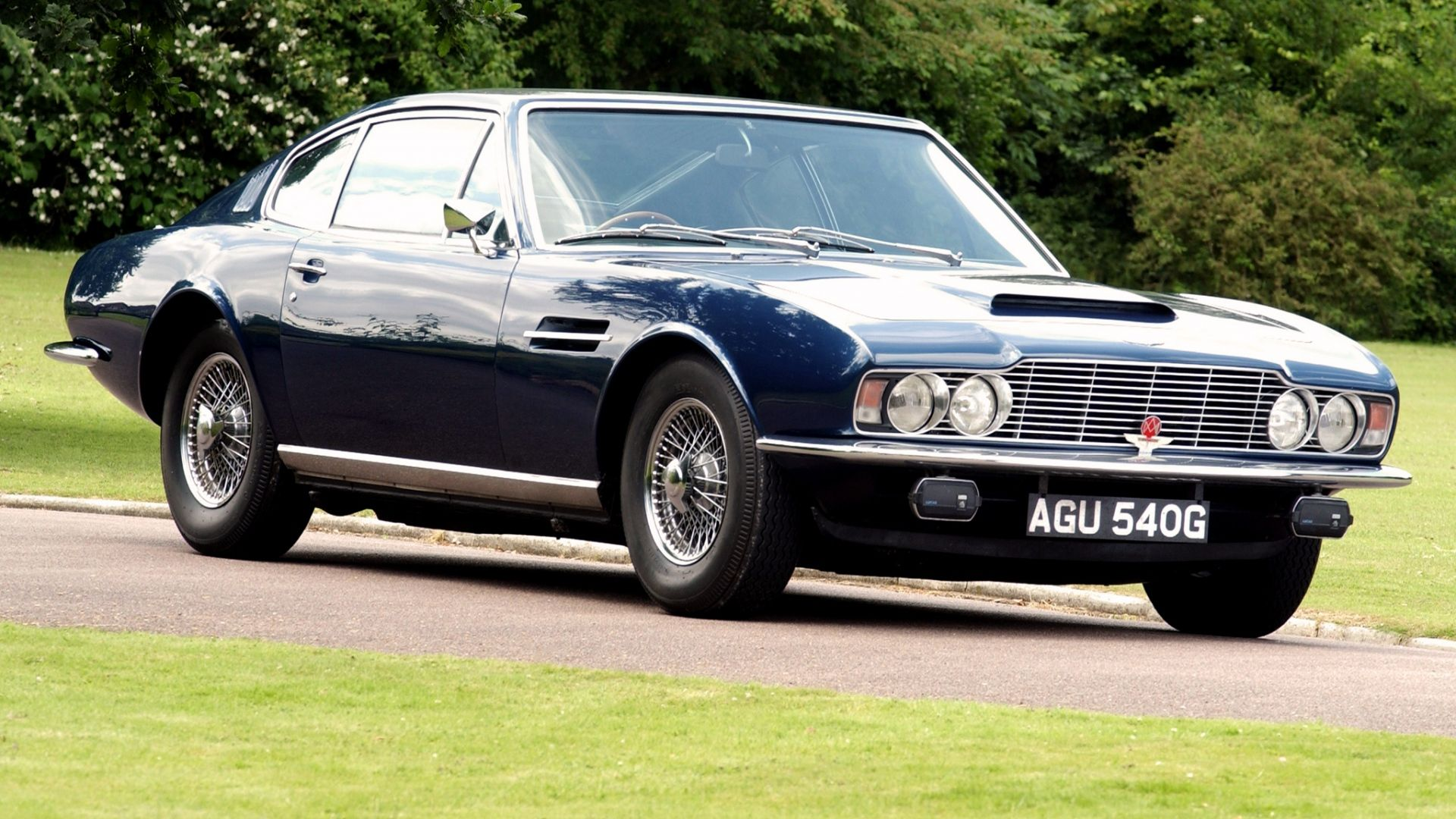 Download Wallpaper 1920x1080 Aston Martin Dbs Blue Side View Retro Trees Full Hd 1080p Hd Background Aston Martin Dbs Aston Martin Voiture