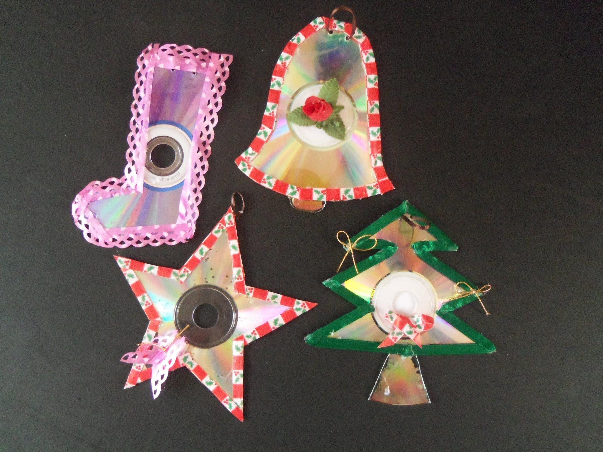 Adorno navide os de cd reciclados arboles de navidad y for Cd reciclados decoracion