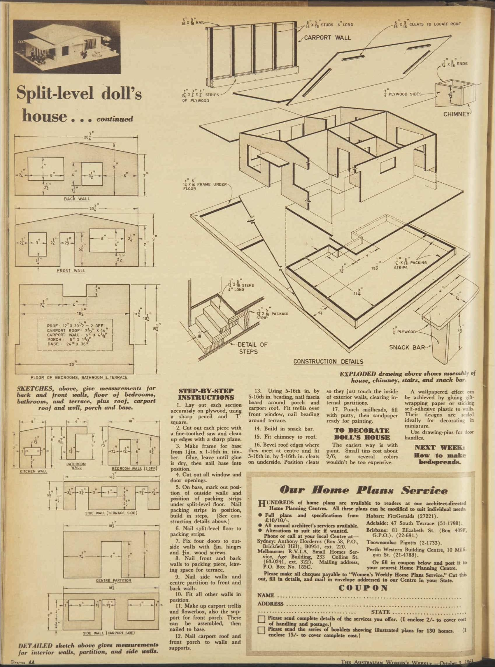 dollhouse furniture plans. Plans For A Split-level 1960s Doll\u0027s House 9 Oct 1963 - The Australian Women\u0027s Dollhouse Furniture