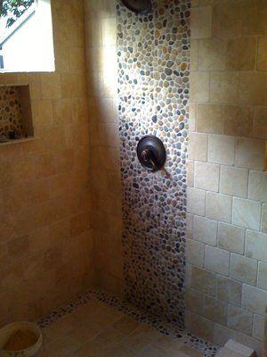 Bathroom Remodel In Sherman Oaks Travertine And River Rock - Bathroom remodeling sherman oaks