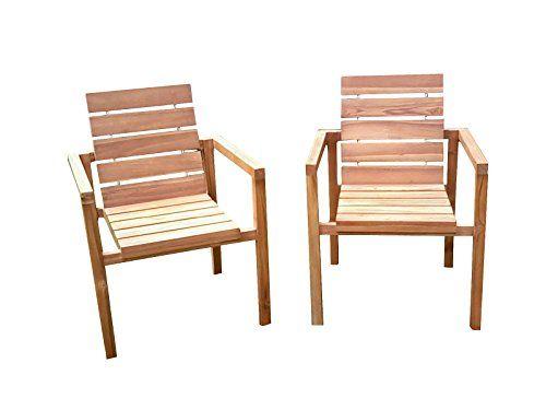 SAM® Teak-Holz Gartenstuhl, massive Sitzmöglichkeit ideal für Garten ...