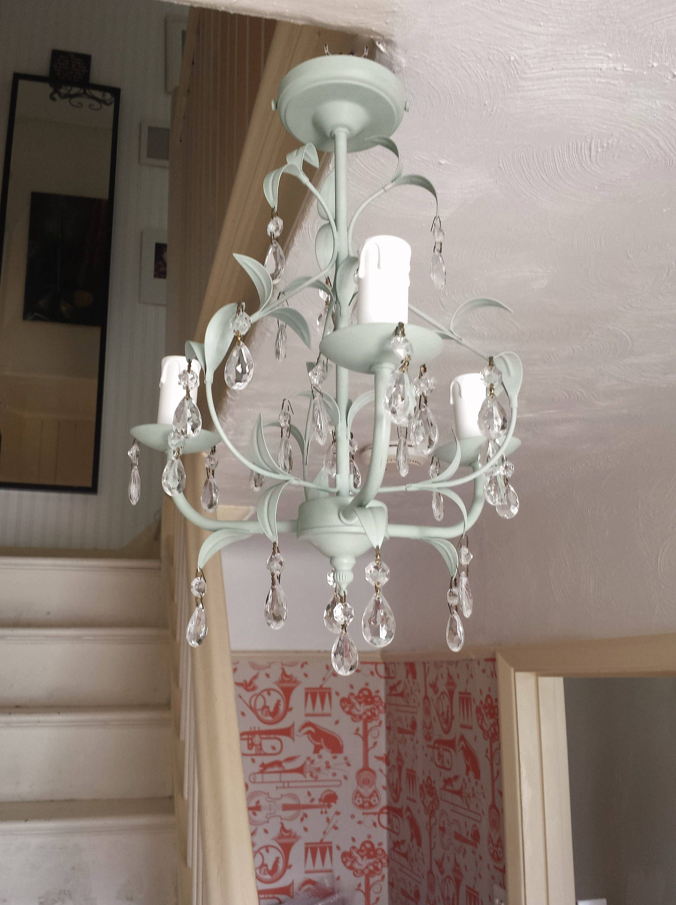 Crystal Chandelier Lighting Pale Duck Egg Annie Sloan Chalk Paint - Upcycled chandelier crystals