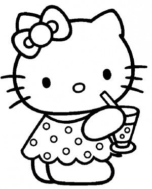 Hello Kitty Drink Coloring Pages
