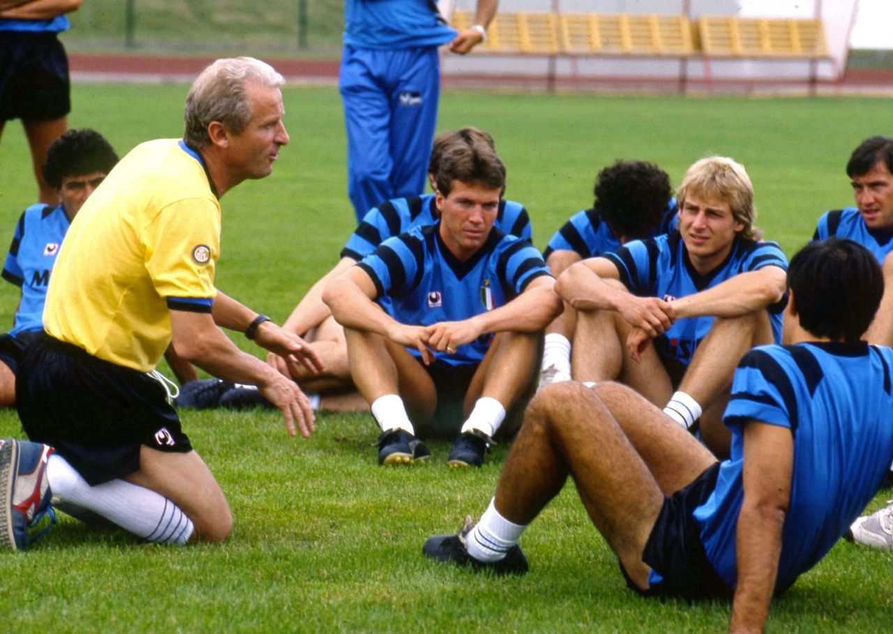 Giovanni Trapattoni Jurgen Klinsmann Et Lothar Matthaus Inter Milan Inter Mailand Mailand Fussball