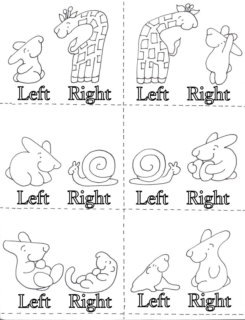 Learning Left And Right Worksheet For Kindergarten