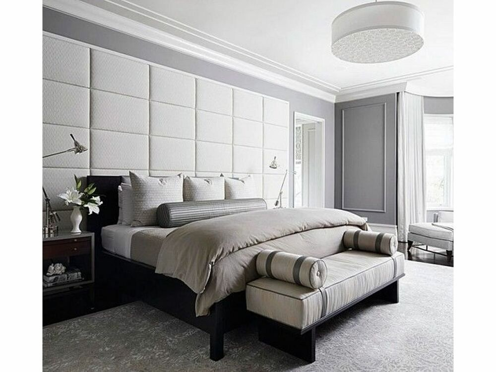 Modern Trendy Headboard Upholstered Wall Panels Padded Wall Tiles Faux Leather Upholstered Walls Grey Bedroom Decor Upholstered Wall Panels