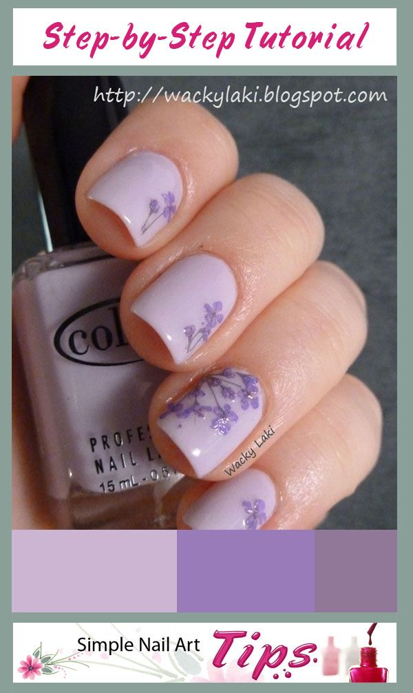 Great tutorial on how to do Lavender Dried Flower Nail Art at www ...