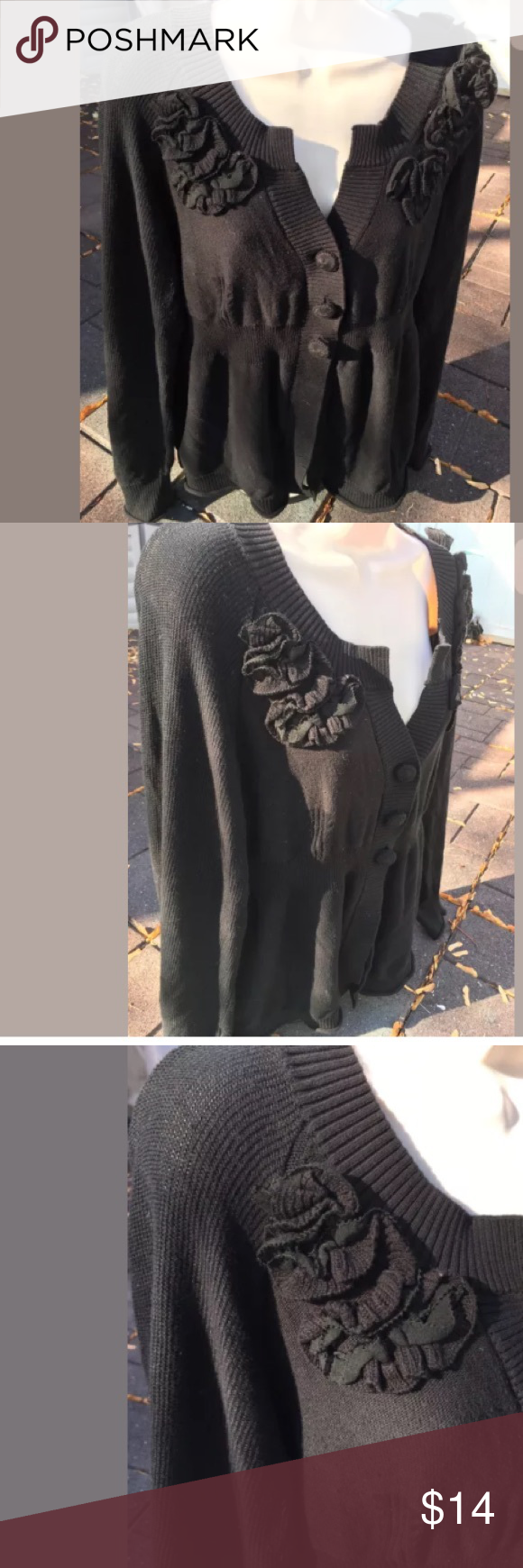 Gorgeous black DKNY Cardigan Size Medium DKNY Knit Floral Cardigan Size Medium Gorgeous black DKNY Cardigan, Button Up. Flower embellishments. Simply classy and stunning! Gently worn DKNY Sweaters Cardigans