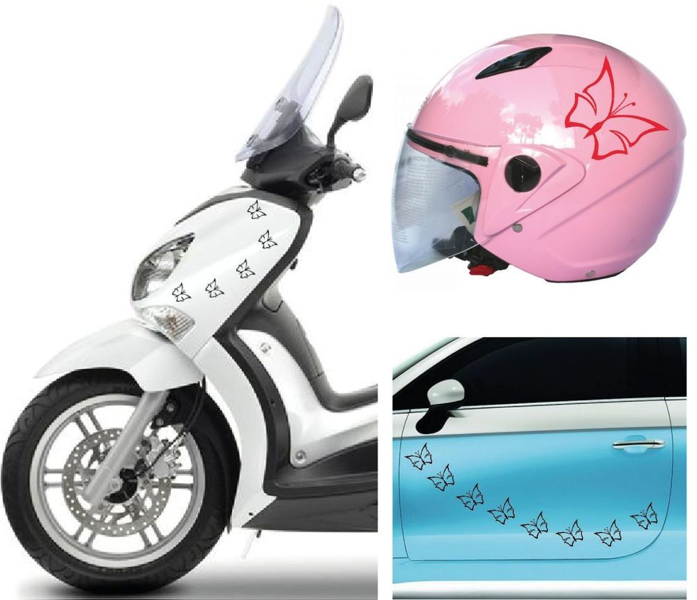 Kit Adesivi Stickers Tuning farfalle per auto, moto, scooter casco ...