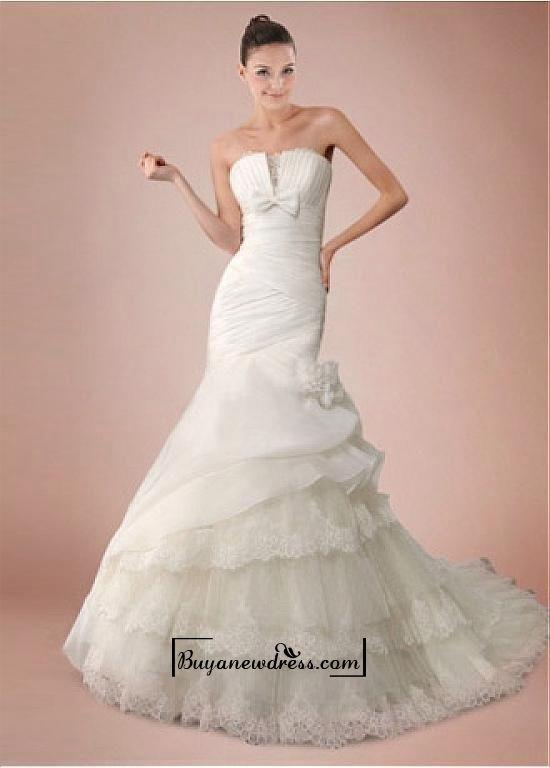 Alluring Organza Satin&Satin&Tulle Mermaid Strapless Neckline Empire Waistline Wedding Dress