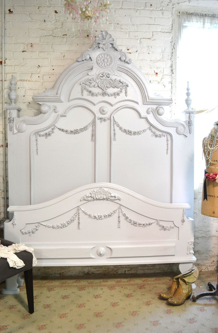 Painted cottage shabby french grey romantic bed vicgry - French shabby chic bedroom furniture ...