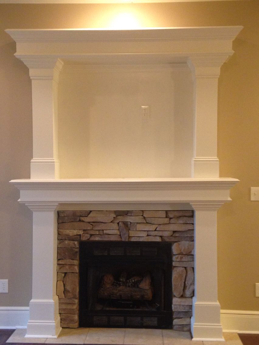 Fireplace With Columns Built Around It Beautiful Fireplace Fireplace Surrounds Fireplace Mantle
