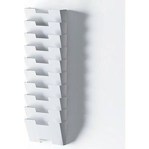 White Wall Mount Steel File Holder Organizer Rack 10 Sectional