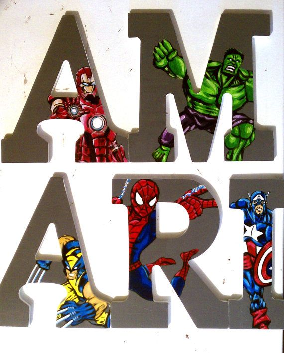 """Marvel Superheros 9"""" Hand Painted Wooden Letters by ArtsyNani, $12.00"""
