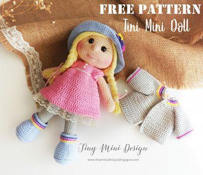 Amigurumi Tini Mini Kız Yapılışı-Free Pattern Tini Mini Dolls #crochetdoll