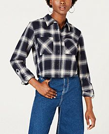 25137f3ec97 Dickies Cropped Plaid Flannel Button-Up Shirt