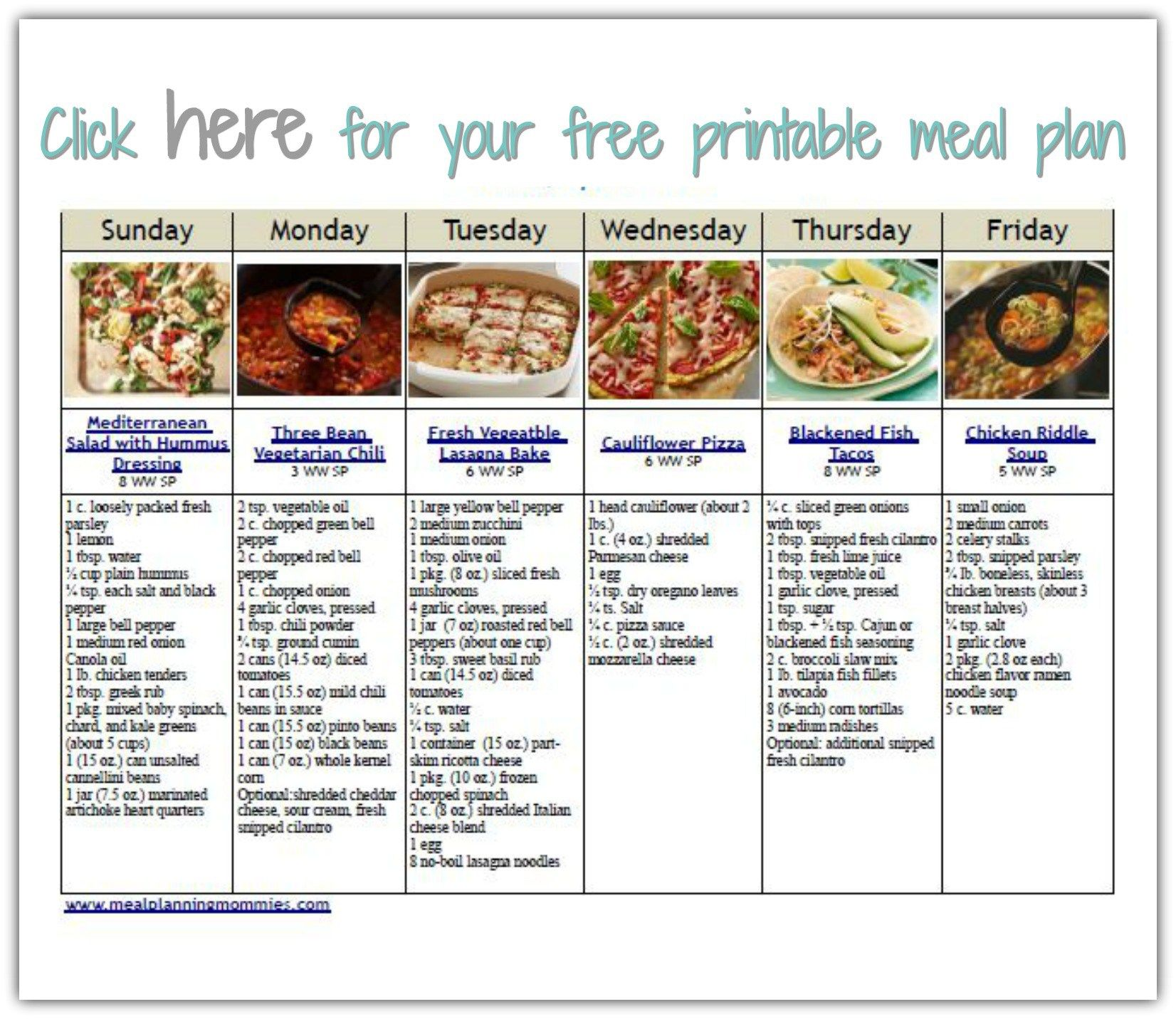 Weight Watchers Meal Planning Template from i.pinimg.com