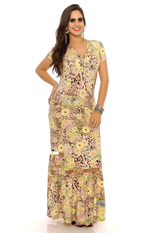 Vestido longo saia com detalhe tule Domenica Solazzo - ChicEElegante