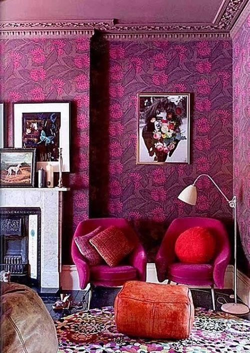 Purple Bohemian 60u0027s Style Living Room