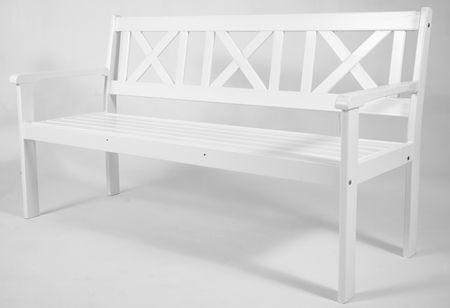3er Bank Gartenbank EVJE Nordisches Design Gartenmöbel Weiß