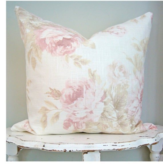 Blush Floral Linen Pillow Cover, Shabby French Country Decor, Cottage Chic, Modern Farmhouse.#blush #chic #cottage #country #cover #decor #farmhouse #floral #french #linen #modern #pillow #shabby