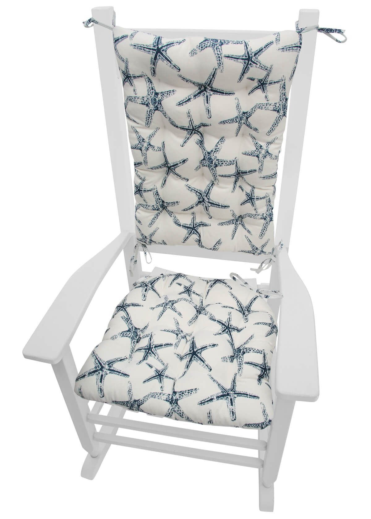 Sea Shore Starfish Navy Blue Porch Rocker Cushion Set Mildew