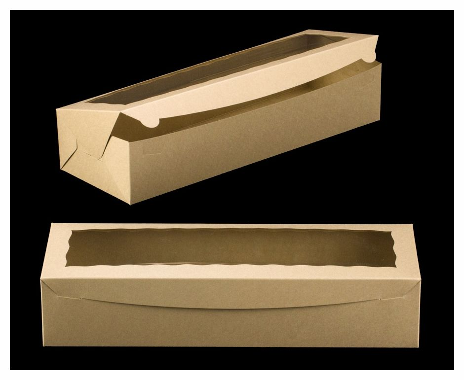 3543 20 X 7 X 4 Brown Brown With Window One Piece Lock Tab Box With Lid Kraft Box Packaging Cupcake Packaging Box With Lid