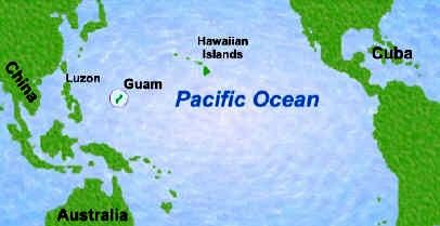 Guam beaches an american paradise in the pacific pinterest guam map of the pacific ocean showing the location of guam gumiabroncs Images