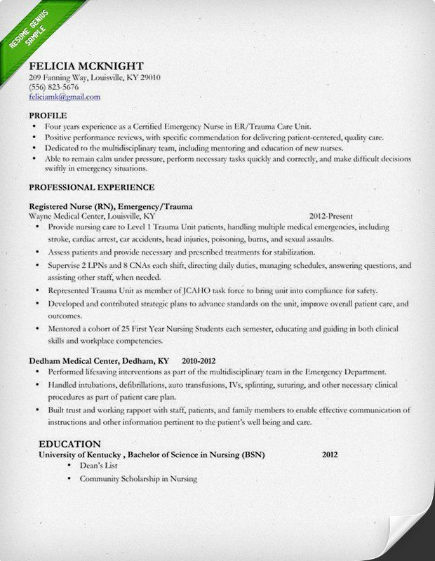 Mid Level Nurse Resume Sample 2015 Resume\/cover letter - er rn resume