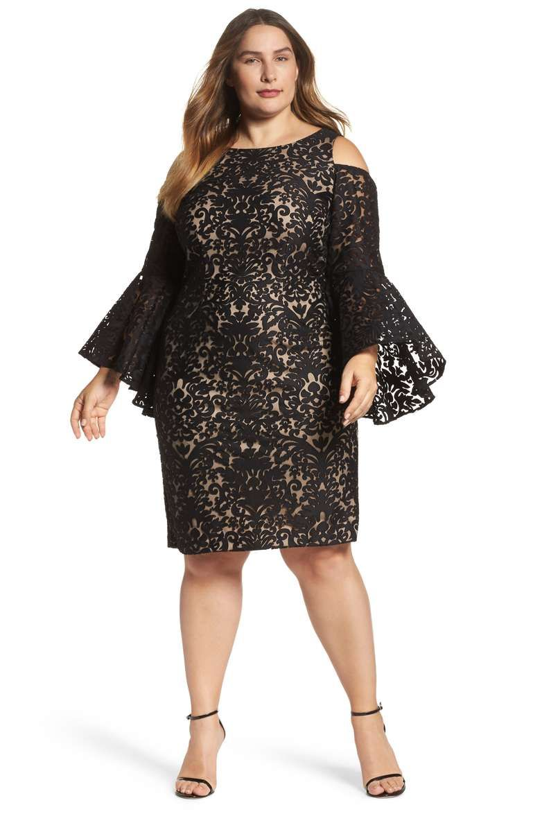 Lace bell sleeve sheath dress plus size wedding guest