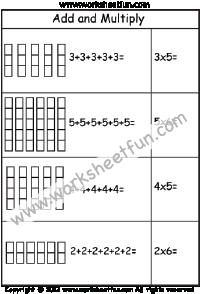 Multiplicación - sumar y multiplicar - suma repetida -Dos Hojas de ...