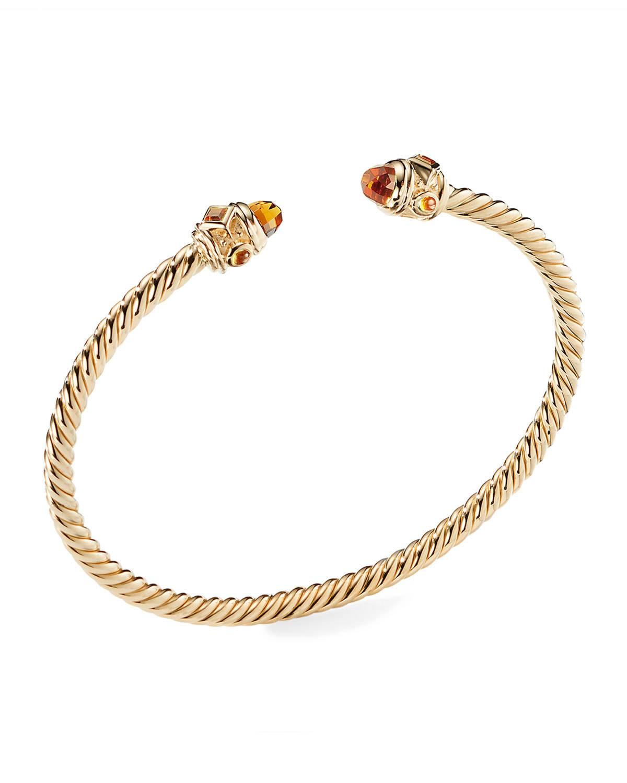 bd211527fe94 David Yurman Renaissance 18k Gold Cable   Madeira Citrine Bracelet ...