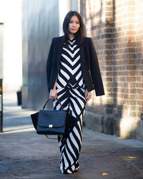 Geometric play on black and white with a Celine bag.