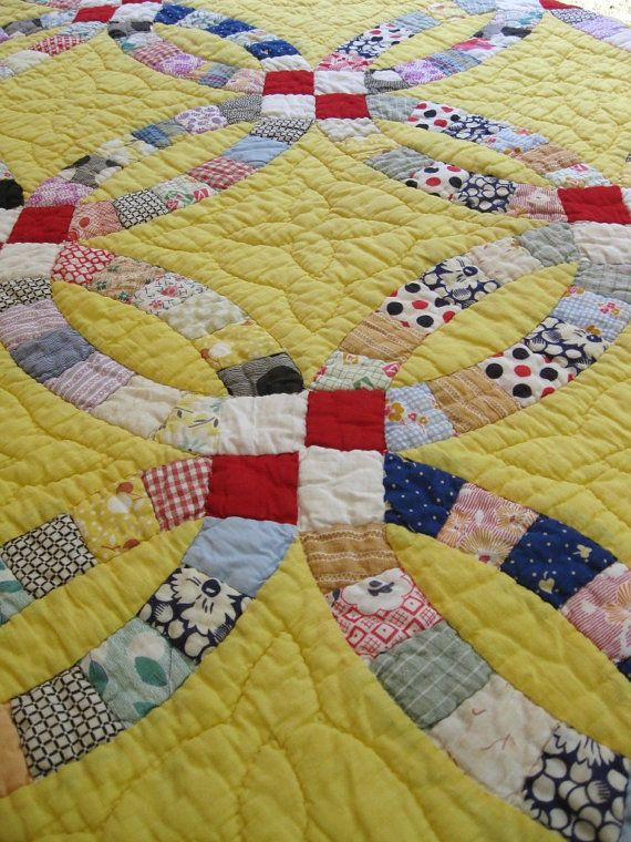 vintage wedding ring quilt great colors quilting Pinterest